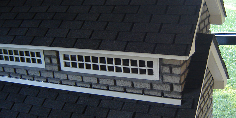 Roof with individual shingles.